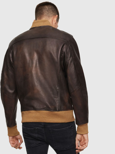 L-OIUKI Leather Aviator Jacket