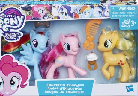 My Little Pony Equestria Friends Pinkie Pie, Rainbow Dash, and Applejack
