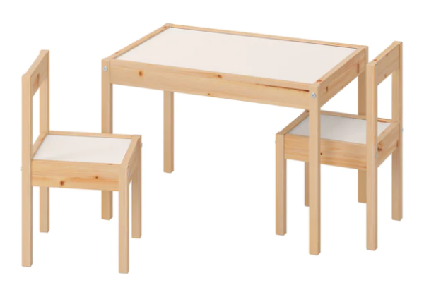 LÄTT Children's table and 2 chairs, white, pine