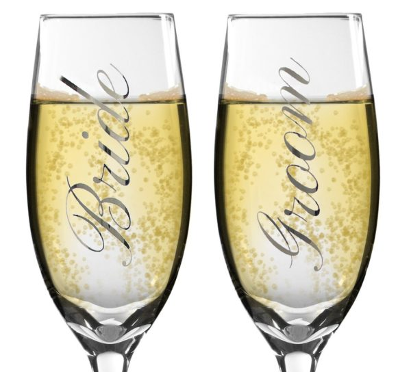 Bride and Groom Champagne Glasses - Set of 2