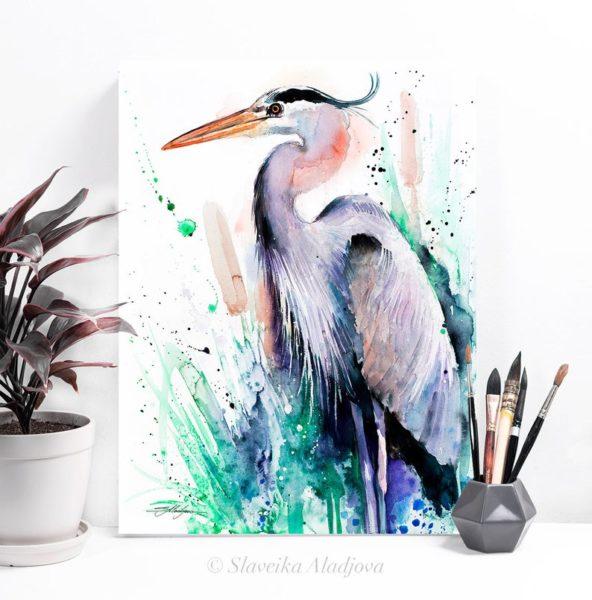 Great Blue Heron watercolor Print