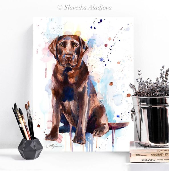Chocolate Labrador watercolor painting print