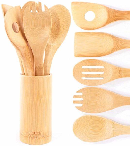 Organic Bamboo Cooking & Serving Utensil Set