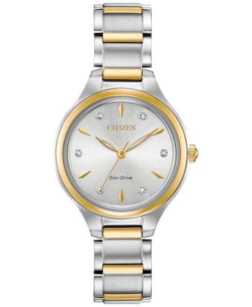 Eco-Drive Women's Corso Diamond-Accent Two-Tone Stainless Steel Bracelet Watch