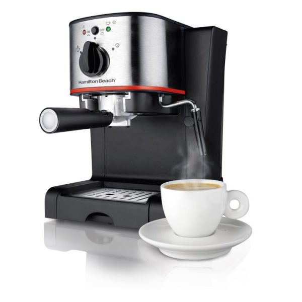 Hamilton Beach Espresso Machine with Milk Frother and Slide Lock