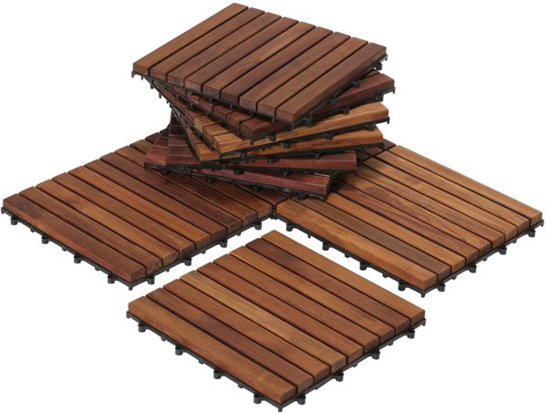 Interlocking Flooring Tiles in Solid Teak Wood