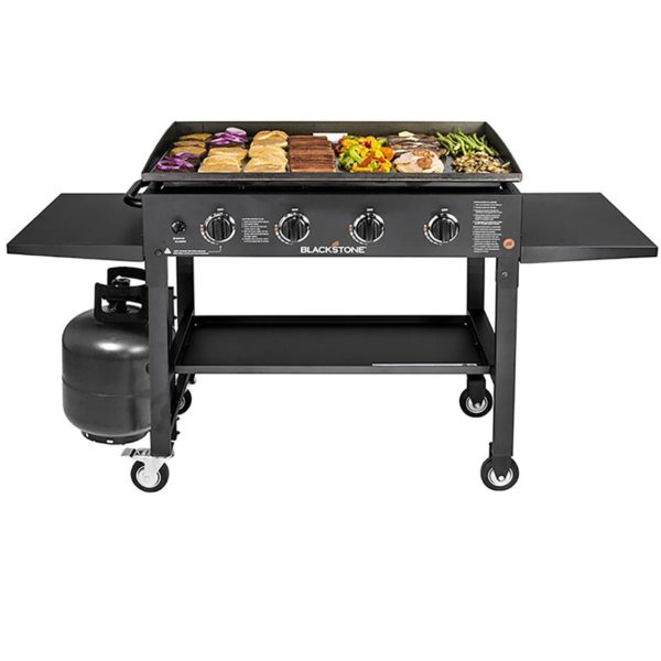 Blackstone Griddle Cooking Station 4-Burner Flat Top Propane Gas Grill with Side Shelves