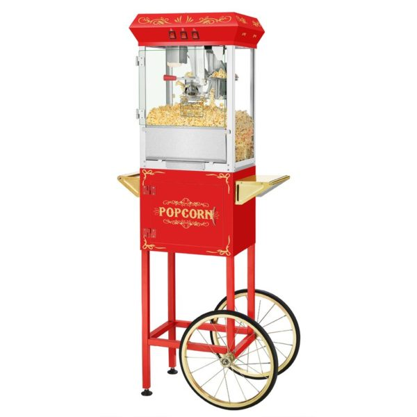 Movie Night Popcorn Popper Machine with Cart