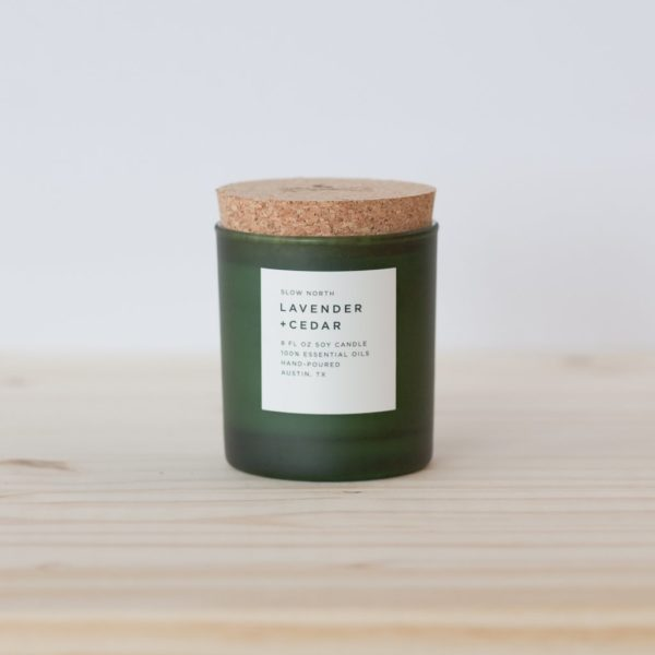 Lavender and Cedar Frosted Candle