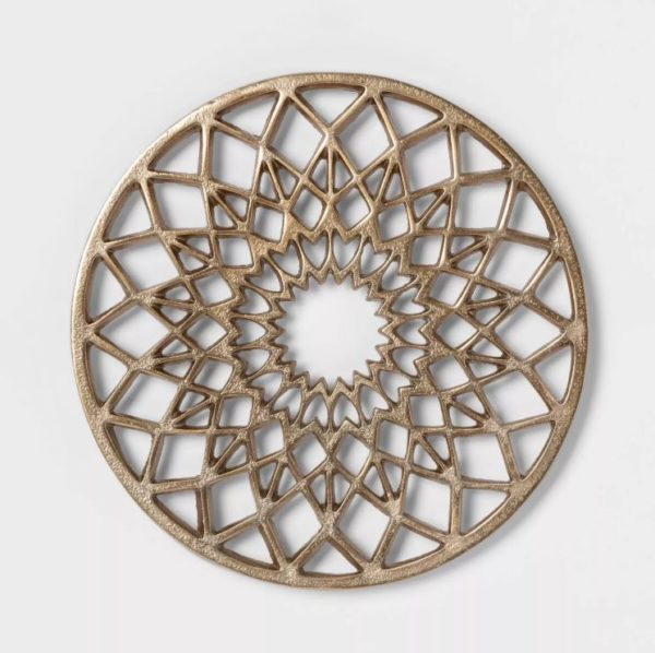 "Cravings by Chrissy Teigen 8.5"" Round Aluminum Trivet - Gold"