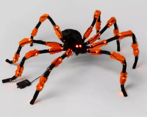 5' Hanging Orange/Black Spider LED Light-Up Halloween Decor - Hyde & EEK! Boutique™