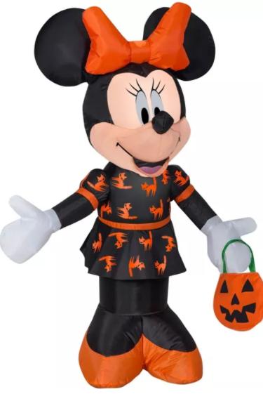 Gemmy Airblown Minnie in Black and Orange Dress Disney, 3.5 ft Tall, Multicolored