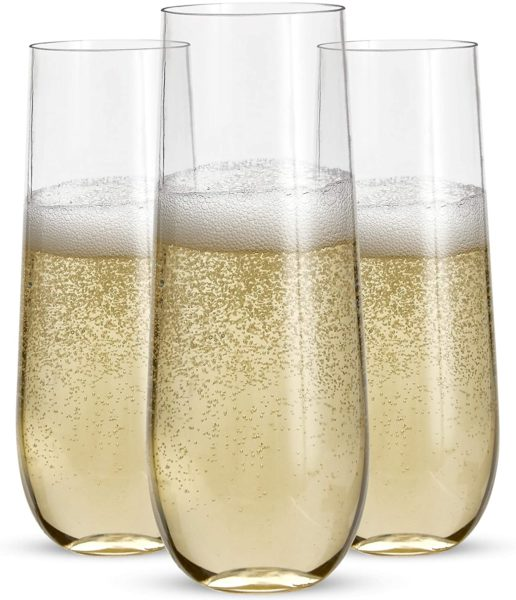 Prestee Stemless Plastic Champagne Flutes