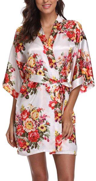 Women's Floral Satin Short Robe Bathrobe