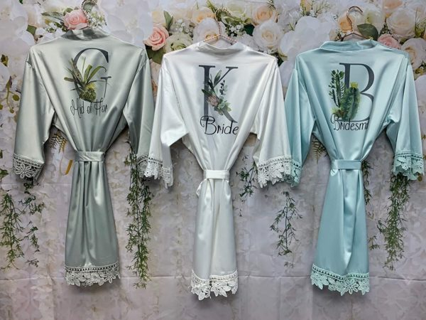 Silky Wedding Robes with Lace for Bridal Party