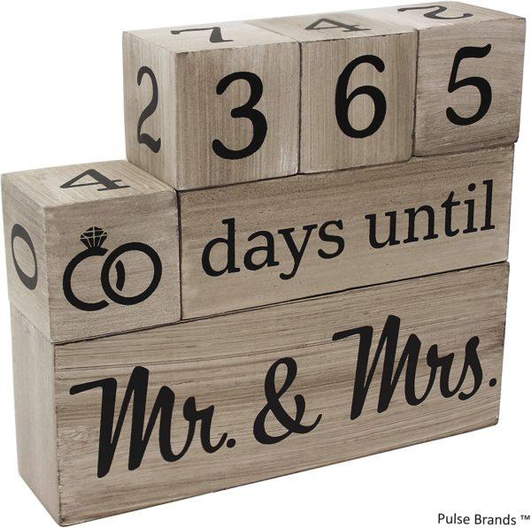 Wedding Countdown Calendar Wooden Blocks