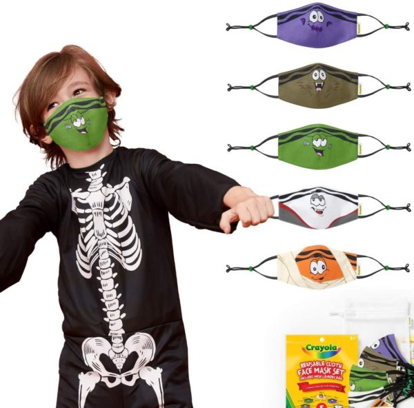 Crayola Reusable Cloth Kids Face Mask Set, Halloween Tip Faces