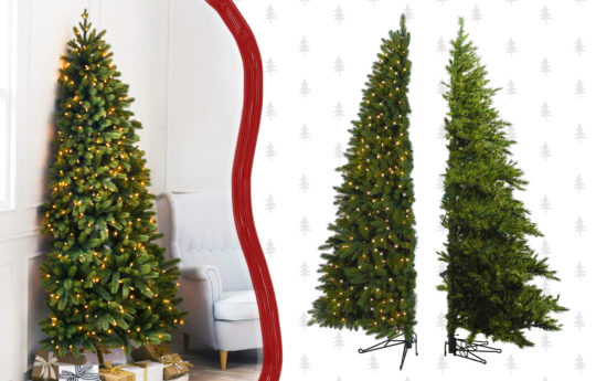 Genius Half Christmas Trees That Sits Flat Against a Wall (Never Decorate the Back Again!)