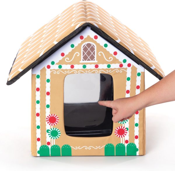 K&H Pet Products Outdoor Unheated Holiday Gingerbread Cat House