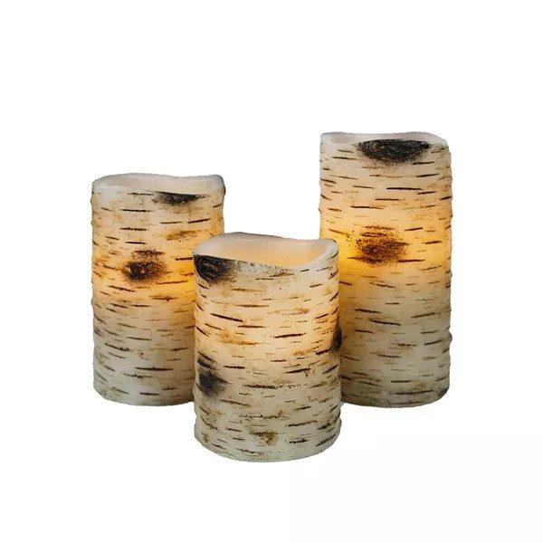 Birch LED Candle Set