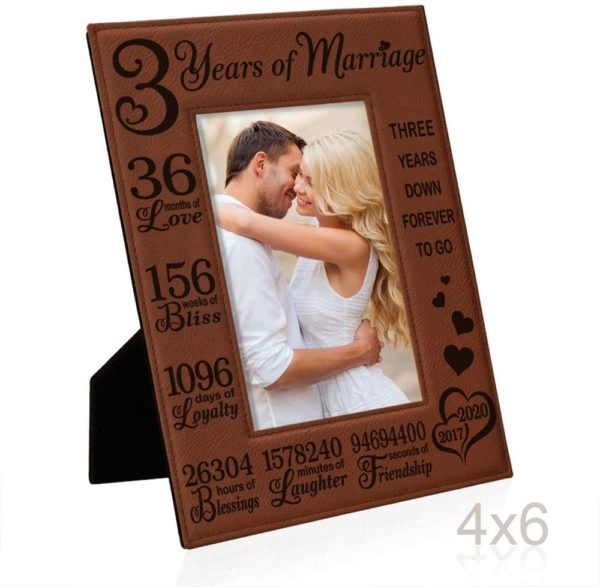 Third Anniversary 2017-2020 Engraved Rawhide Leather Picture Frame