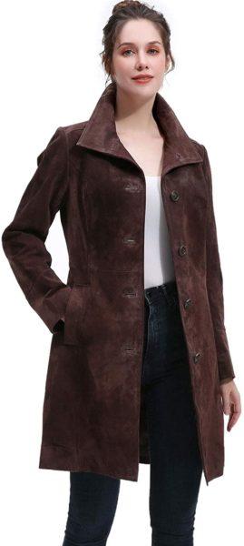 Women's Suede Leather Walking Coat
