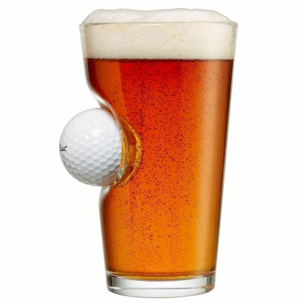 Pint Glass with Real Golf Ball