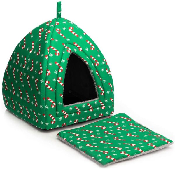 Hollypet Self-Warming 2 in 1 Foldable Comfortable Triangle Cat Bed
