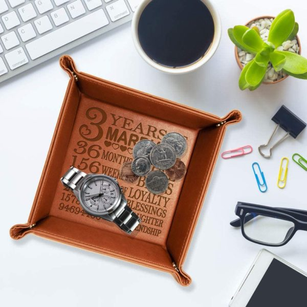 Engraved Leather Catchall Valet Tray
