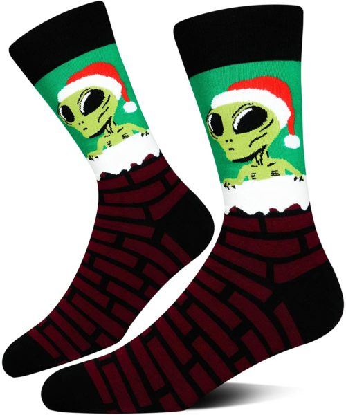 Alien Claus Christmas Socks