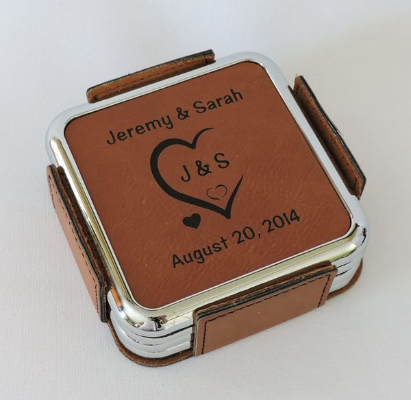 Leather Coasters Personalized with Initials Carved in Heart and Wedding Date