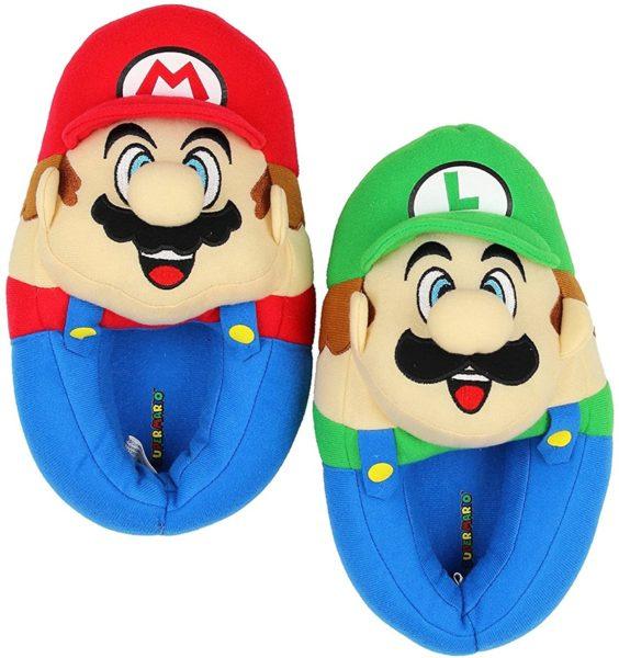 Super Mario Brothers Boys Plush Slippers