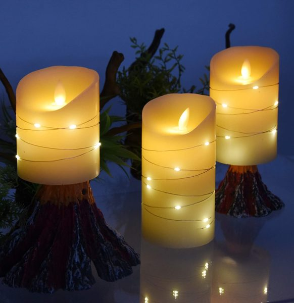 LED flameless Candle, with Embedded Starlight String