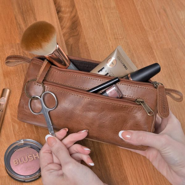Leather Makeup Bag for Travel