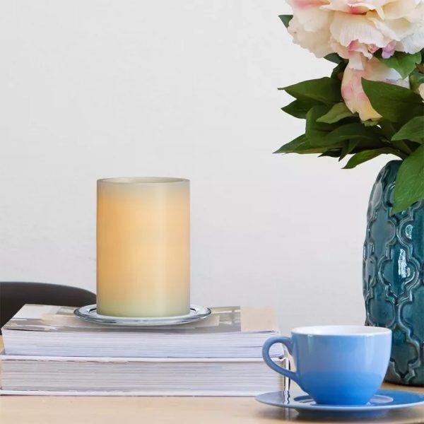 Vanilla Scented LED Pillar Candle Cream