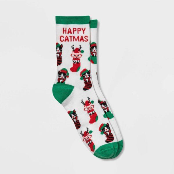 'Happy Catmas' Holiday Crew Socks