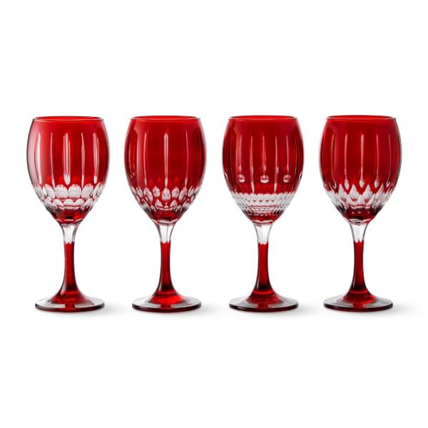 Wilshire Jewel Cut Red Mixed Wine Glasses