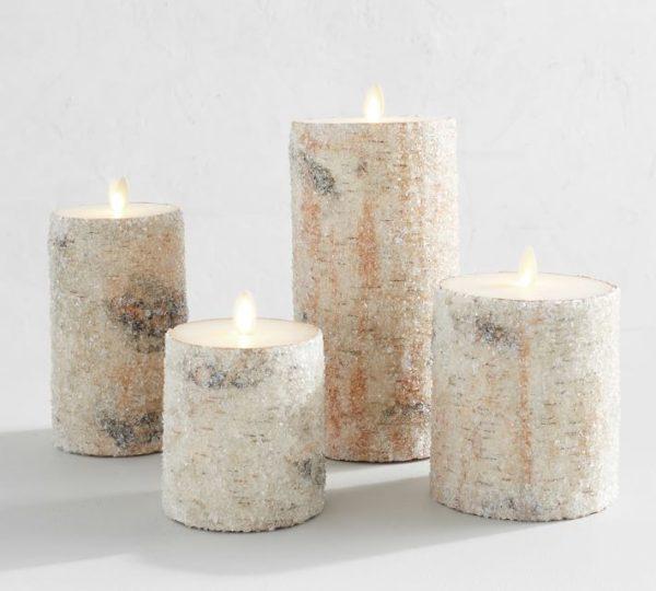 Premium Flickering Flameless Sugared Birch Pillar Candles
