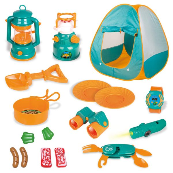 18 Piece Kids Camping Gear Set with Pop Up Play Tent