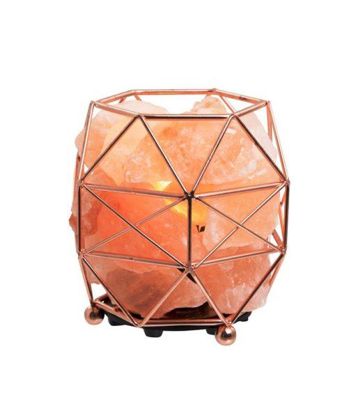 Himalayan Salt Crystal Lamp with Rose Gold Basket