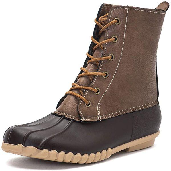 DKSUKO Women's Winter Duck Boots with Waterproof Zipper