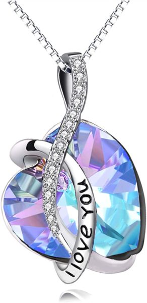 I Love You Jewelry Sterling Silver Blue Purple Heart Pendant Necklace