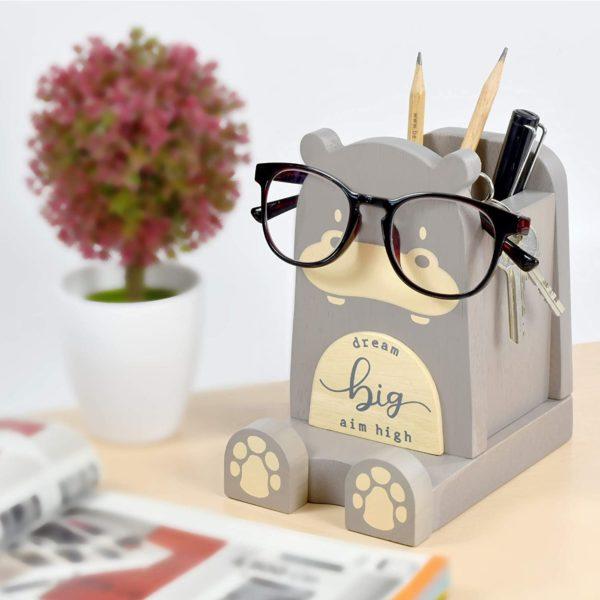 Wood Multipurpose Eyeglass Phone Pen & Hippo Pencil Holder