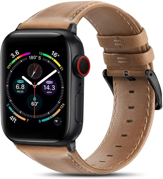 BRG Leather Band Compatible With Apple Watch