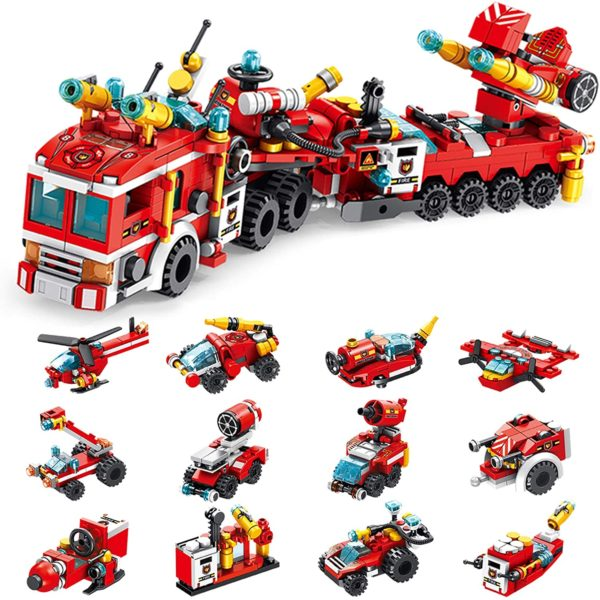 STEM Toys for Kids Fire Truck Building Block Set