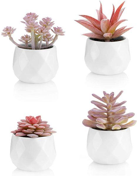 Faux Succulents in White Ceramic Pots
