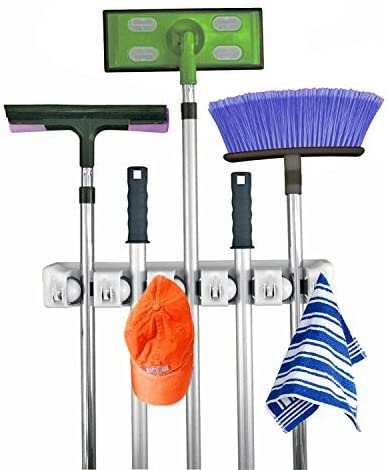 Mop and Broom Holder, 5 Position with 6 Hooks