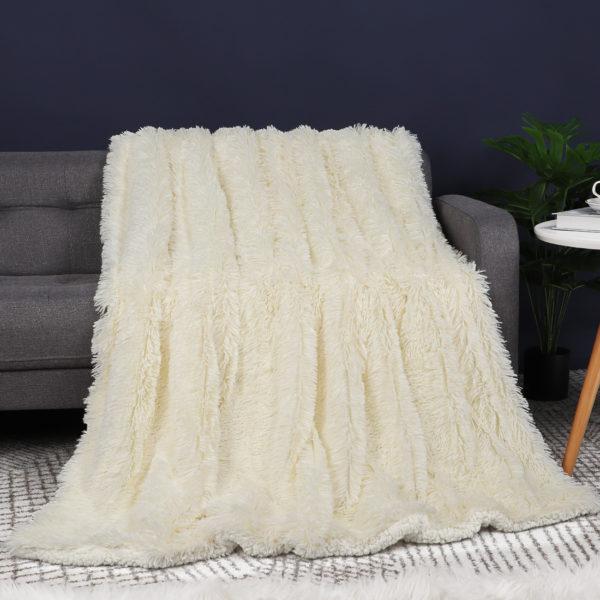 Unique Bargains Sherpa Fluffy Shaggy Faux Fur Blanket