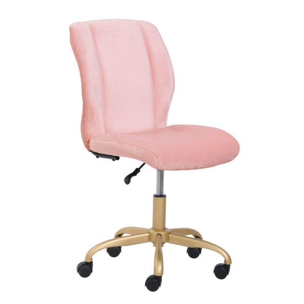 Mainstays Plush Velvet Office Chair, Pearl Blush