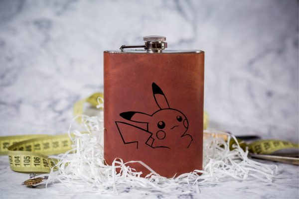 Pikachu Pokemon Personalized Leather Flask Engraved